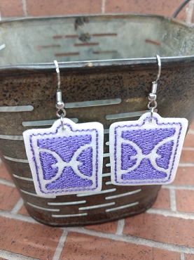Pisces Zodiac Symbol Earrings Embroidery Design